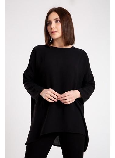 Madame Sare  Kadın Salaş Ayrobin Siyah Bluz Siyah